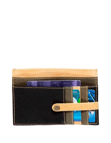 Derek Alexander Leather Cardholder-NAVY/TAN-One Size
