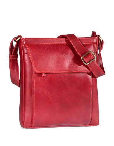 Derek Alexander Medium Unisex Tablet Leather Crossbody Bag-RED-One Size
