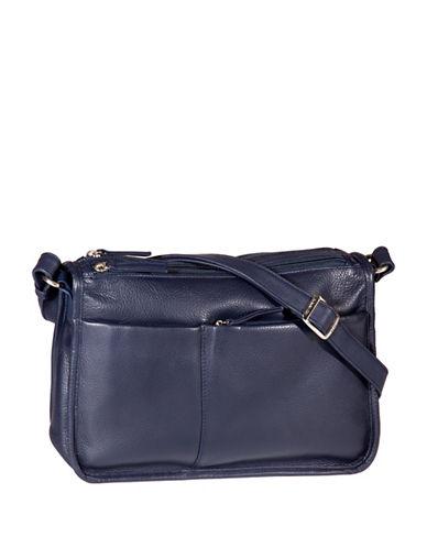 Derek Alexander Multi-Pocket Leather Shoulder Bag-BLUE-One Size