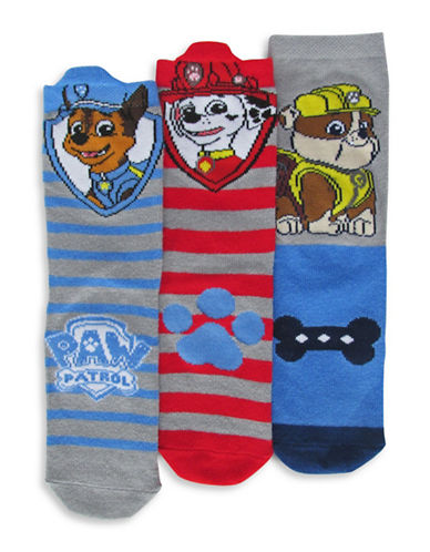 Disney Paw Patrol Boys Three Pair Sock Set-ASSORTED-4-6