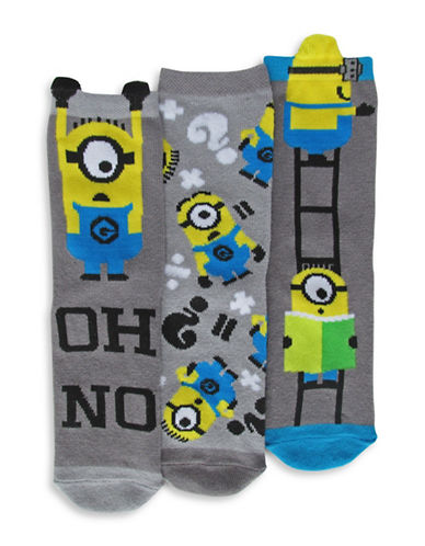 Disney Minions Three Pair Sock Set-GREY-7-10