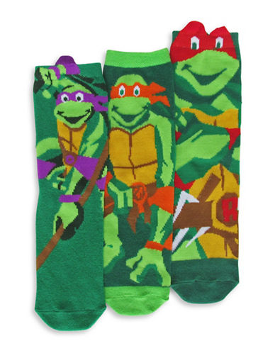 Disney TMNT Three Pair Sock Set-GREEN-7-10