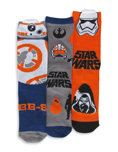 Disney Star Wars Three Pair Sock Set-ORANGE-7-10