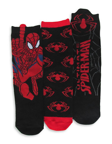 Disney Spiderman Three Pair Sock Set-BLACK/RED-4-6