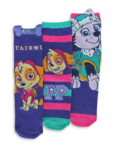Disney Paw Patrol Girls Three Pair Sock Set-ASSORTED-2T-3T