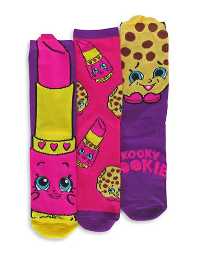 Disney Shopkins Three Pair Sock Set-ASSORTED-7-10