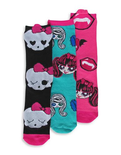 Disney Monster High Three Pair Sock Set-ASSORTED-4-6