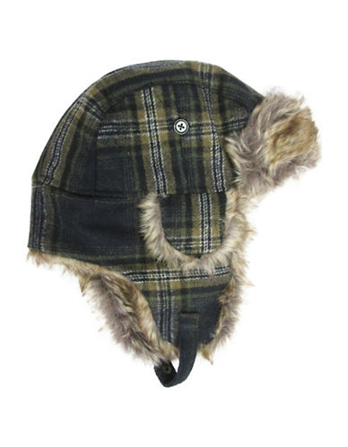 Hudson North Plaid Faux Fur Trapper Hat-NAVY-One Size