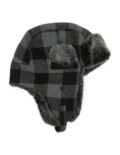 Hudson North Buffalo Check Faux Fur Trapper Hat-BLACK-One Size