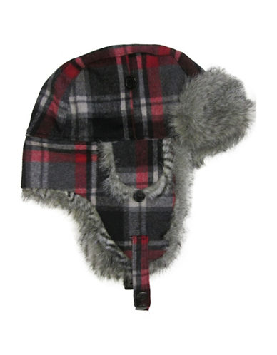 Hudson North Plaid Faux Fur Trapper Hat-RED-One Size