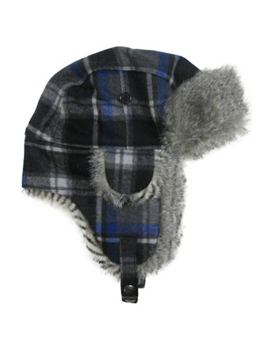Hudson North Plaid Faux Fur Trapper Hat-NAVY-One Size