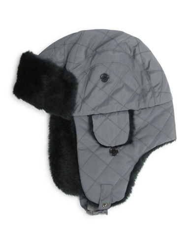 Hudson North Quilted Faux-Fur Trapper Hat-CHARCOAL-One Size