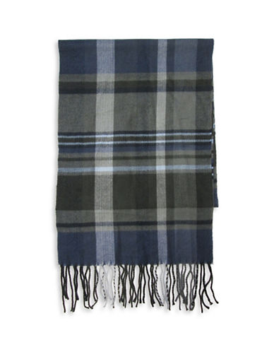 Hudson North Plaid Woven Scarf-NAVY-One Size