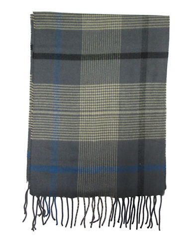 Hudson North Windowpane Woven Scarf-CHARCOAL-One Size