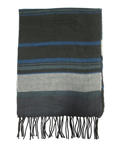Hudson North Striped Woven Scarf-BLACK-One Size