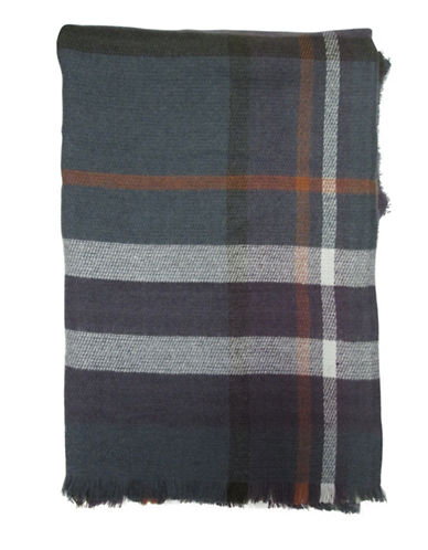 Hudson North Oversized Plaid Scarf-CHARCOAL-One Size