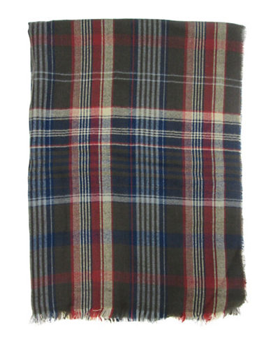 Hudson North Plaid Woven Scarf-BROWN-One Size