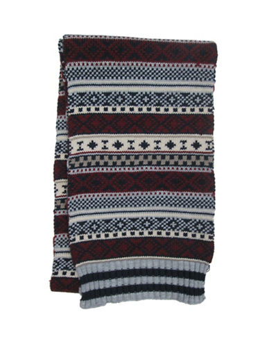 Hudson North Fairisle Knit Scarf-NAVY-One Size