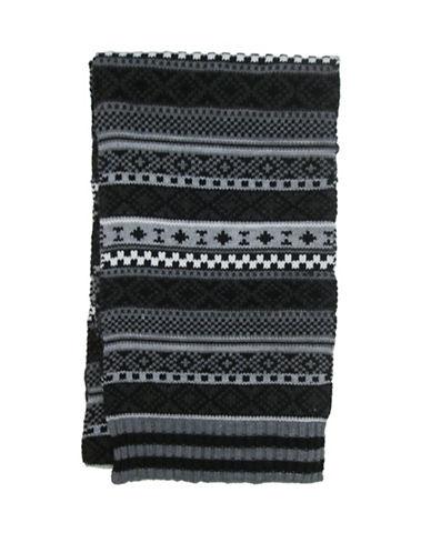Hudson North Fairisle Knit Scarf-BLACK-One Size