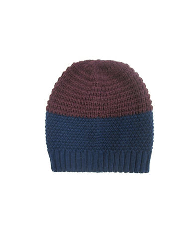Hudson North Colourblock Waffle Knit Tuque-NAVY-One Size