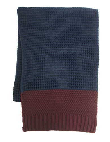 Hudson North Colourblock Waffle Knit  Scarf-NAVY-One Size