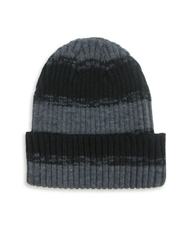 Hudson North Rugby Striped Turn Cuff Tuque-BLACK-One Size