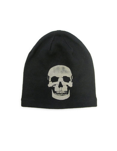 1670 Skull-Print Cotton Beanie-BLACK-One Size