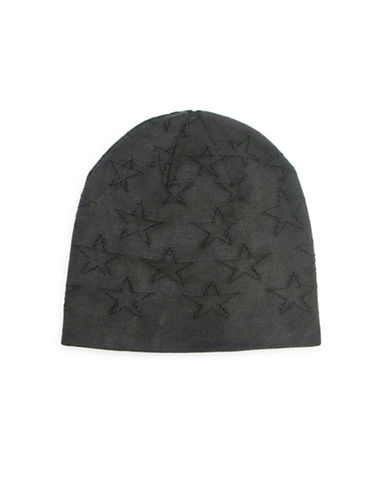 1670 Star Reverse Knit Beanie-BLACK-One Size
