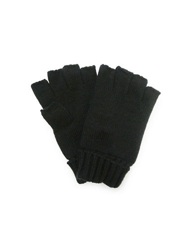 1670 Knit Fingerless Gloves-BLACK-One Size