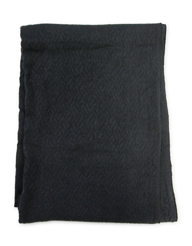 1670 Geometric-Textured Knit Scarf-BLACK-One Size