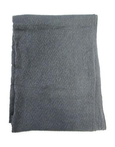 1670 Geometric-Textured Knit Scarf-GREY-One Size