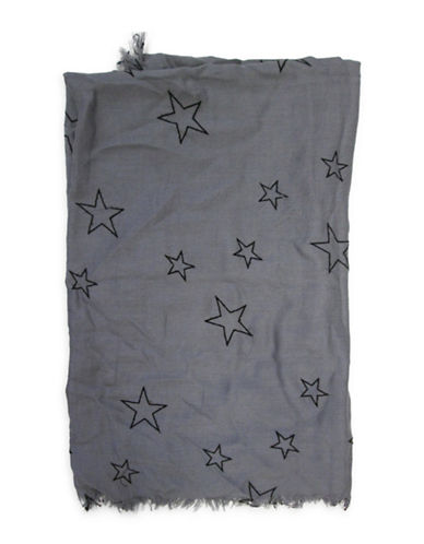 1670 Fringed Star-Print Scarf-GREY-One Size