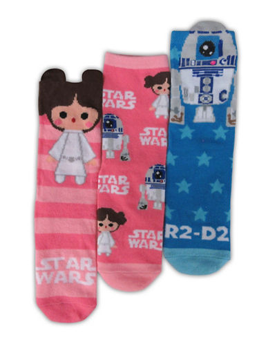Lucas Films Girls Three-Pack Star Wars Crew Sock Set-ASSORTED-4-6
