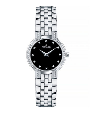 Movado Faceto Slim Stainless Steel Watch-SILVER-One Size