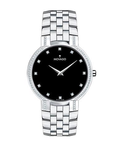 Movado Faceto Analog Bracelet Watch with 0.396 TCW Diamonds-SILVER-One Size