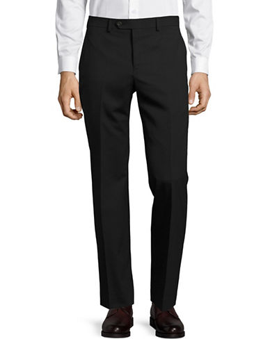 Chaps Slim Fit Hemmed Wool-Blend Dress Pants-BLACK-38X32