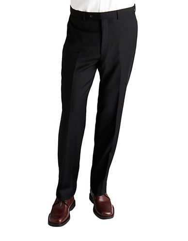 Calvin Klein Slim Fit Wool Trousers-PLAIN BLACK-38X32