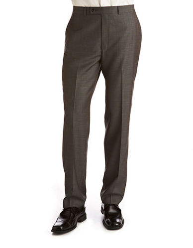 Calvin Klein Big and Tall Charcoal Modern Fit Wool Suit Separate Pants-GREY-44X30