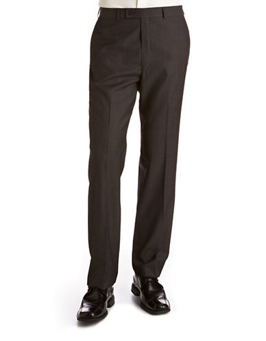 Calvin Klein Slim Fit Wool Suit Pants-MID GREY NARROW HERRINGBONE-38X30