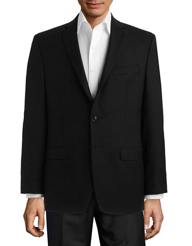 Calvin Klein Black Modern Fit Wool Suit Separate Jacket-PLAIN BLACK-48 Regular