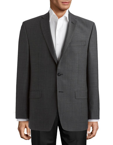 Calvin Klein Charcoal Modern Fit Wool Suit Separate Jacket-GREY-50