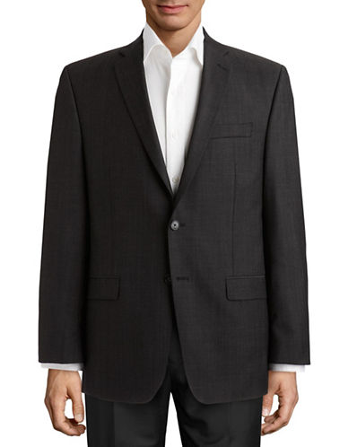 Calvin Klein Herringbone Modern Fit Wool Suit Separate Jacket-MID GREY NARROW HERRINGBONE-40 Regular