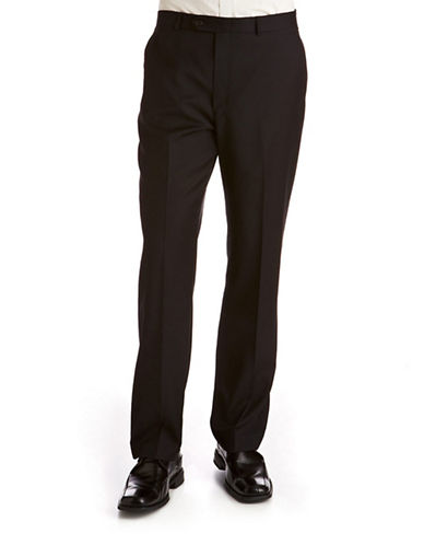 Lauren Ralph Lauren Classic Fit Ultraflex Wool Pants-PLAIN BLACK-36X34