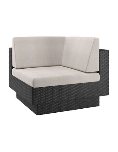 Corliving Park Terrace Weave Patio Corner Seat-BLACK-One Size