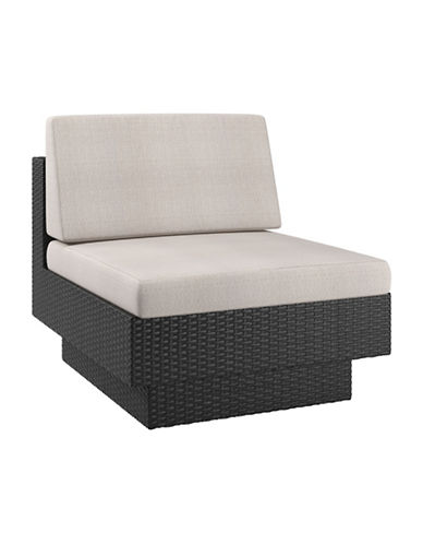 Corliving Park Terrace Weave Patio Middle Seat-BEIGE/BLACK-One Size