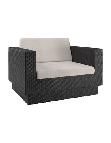 Corliving Park Terrace Weave Patio Chair-BLACK-One Size