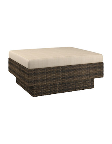Corliving Park Terrace Weave Patio Ottoman-BROWN-One Size