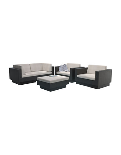 Corliving Park Terrace 5-Piece Weave Sofa Patio Set-BLACK-One Size