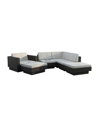 Corliving Park Terrace 6-Piece Sectional Patio Set-BLACK-One Size