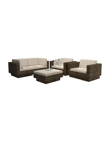 Corliving Park Terrace 5-Piece Weave Sofa Patio Set-BROWN-One Size